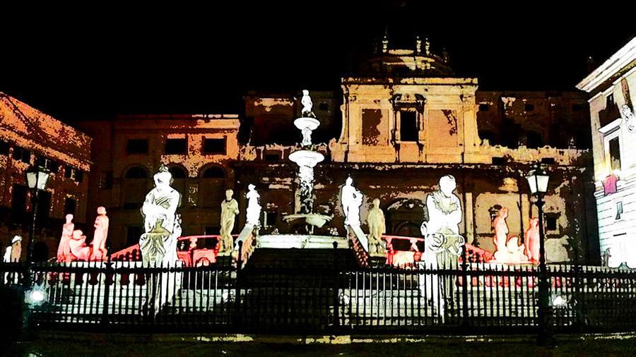 Fontana della vergogna di Palermo - notte